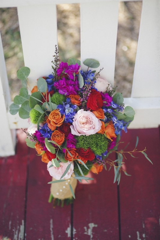 bright jewel-toned bouquet, photo by Christina Carroll Photography