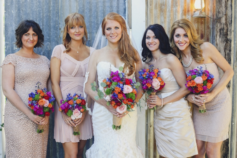 short blush bridesmaid dresses, photo by Christina Carroll Photography