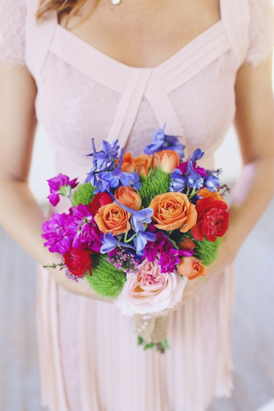 light pink bridesmaid dress and colorful bouquet, photo by Christina Carroll Photography