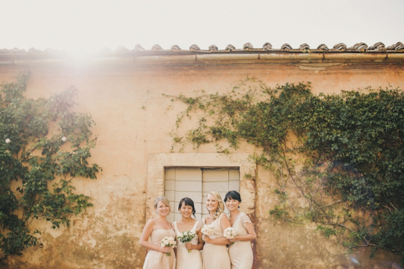 bridesmaids in blush pink dresses, photo by This Modern Love