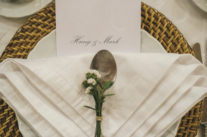hand-stamped silver spoon as wedding favor, photo by This Modern Love