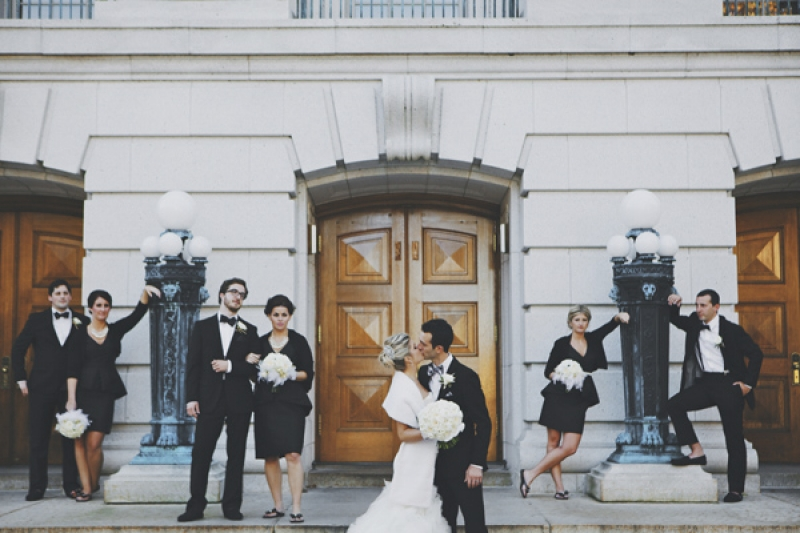 black and white wedding party, photo by DWJohnson Studio