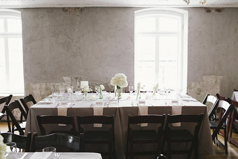 gray and white reception decor, photo by Paige Winn Photo