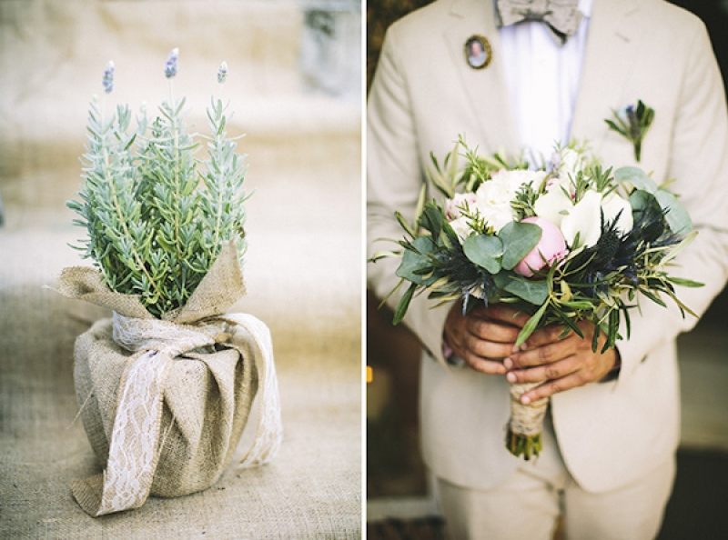 lavender plant wrapped in burlap and bridal bouquet, photo by Adam Alex