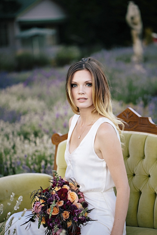 ombre hair and organic bouquet, photo by Jennifer Ballard Photography