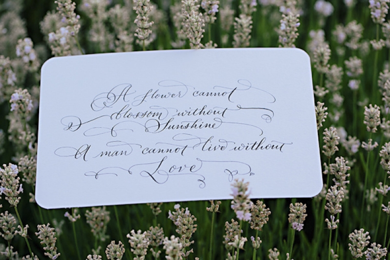 calligraphied quote on love, photo by Jennifer Ballard Photography
