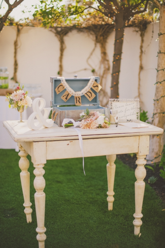 vintage card table at wedding, photo by Closer to Love Photography