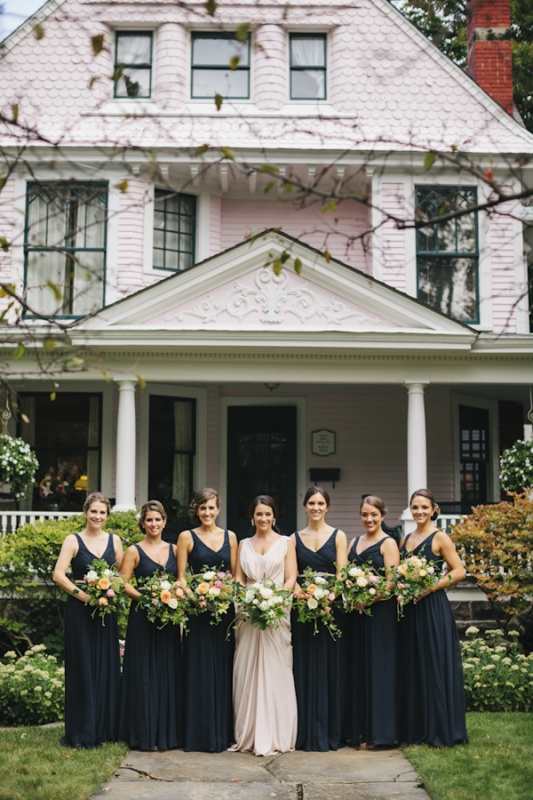 long navy bridesmaid dresses, photo by Ely Brothers Studio
