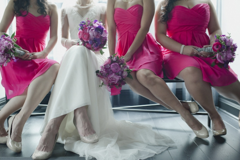 pink bridesmaid dresses with purple and pink bouquets, photo by Aron Goss Photography