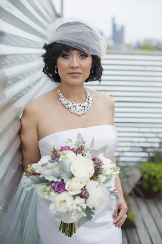 crystal necklace and bouquet of white roses and lambsear, photo by Nikki Closser