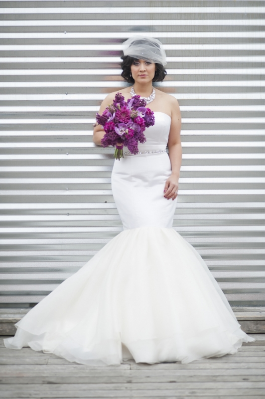 white mermaid dress with purple bouquet, photo by Nikki Closser