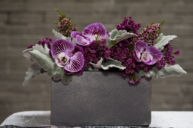 purple orchid table centerpiece, photo by Nikki Closser