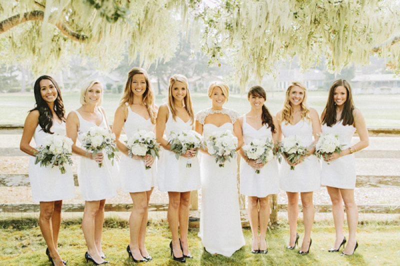 short white bridesmaid dresses with black pumps, photo by Benj Haisch