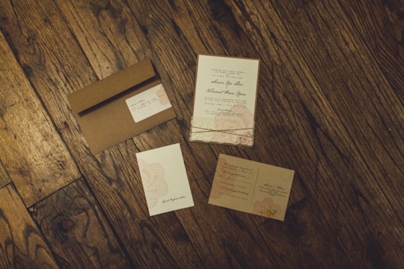 rustic ivory and kraft paper brown invitation suite, photo by Jeff Newsom