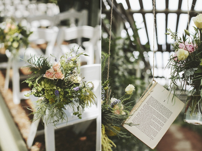 outdoor ceremony, book and floral decor, photo by Rowan Jane Photography