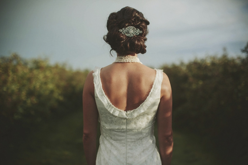bridal hair updo with silver clip, photo by Rowan Jane Photography