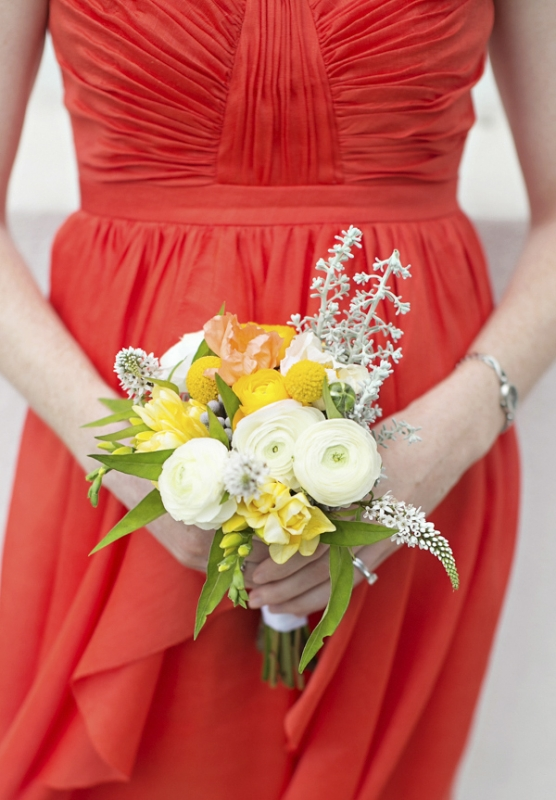 orange bridesmaid dress and yellow and white bouquet, photo by Paperlily Photography