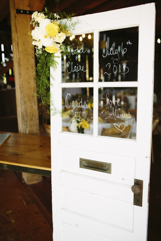 yellow and white wedding announcement on door, photo by Dan Stewart Photography