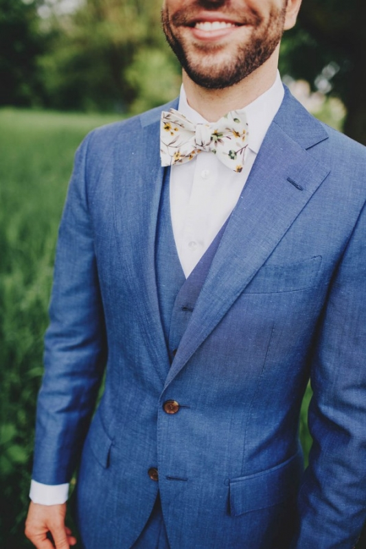 chambray blue suit white floral bowtie