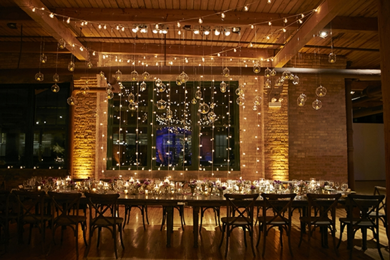 modern Chicago loft wedding hanging lights