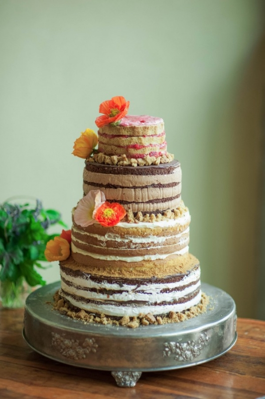 tall naked cake poppy flowers