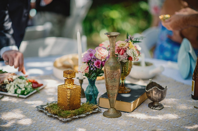 colorful eclectic backyard wedding Gabe McClintock vintage table decor