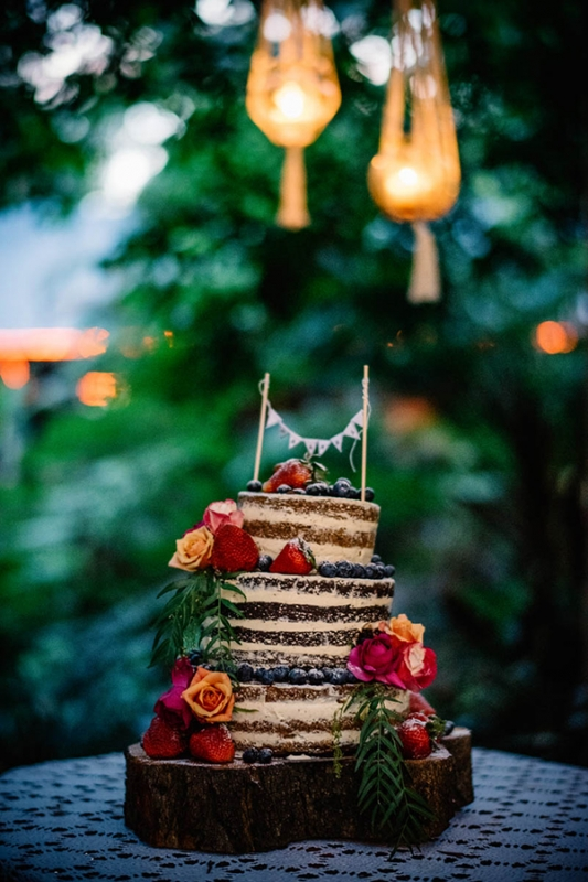 colorful eclectic backyard wedding Gabe McClintock chocolate naked cake berries