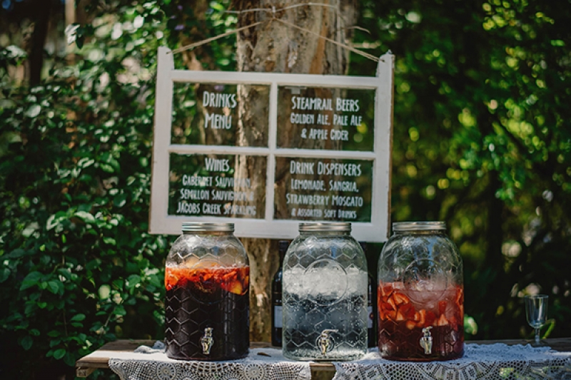 Colorful Eclectic Backyard Wedding Gabe McClintock DIY Window Drink Menu Bar