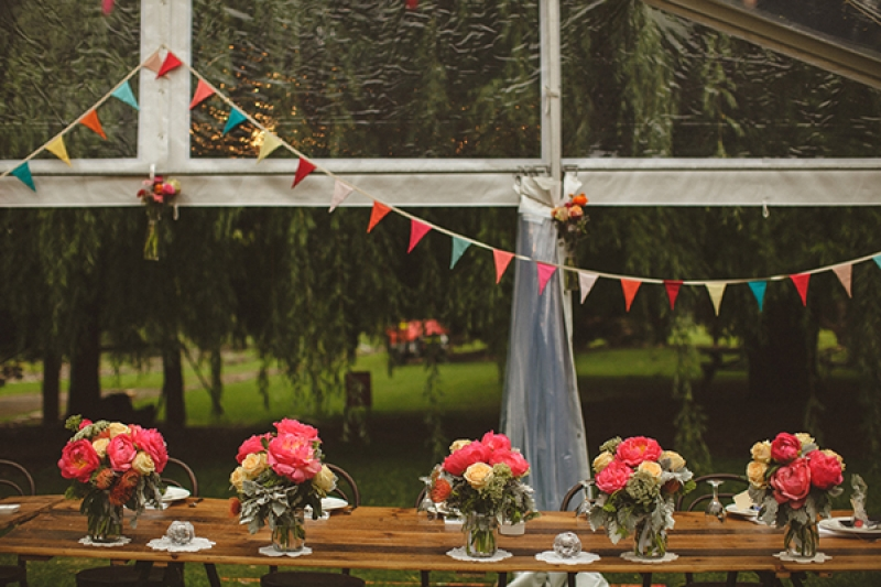 Colorful Wedding Tent Reception