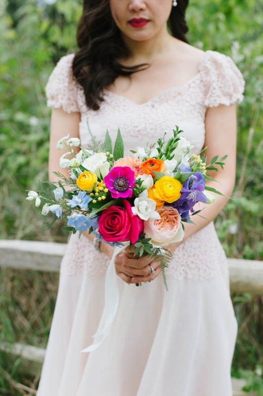 Colorful Toronto wedding colorful flowers modern design