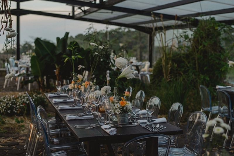 natural industrial outdoor wedding Portugal coral black gold ghost chairs