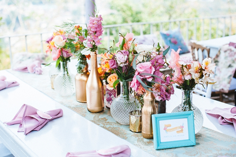 Eclectic Backyard Wedding Reception Decor Vintage Elements