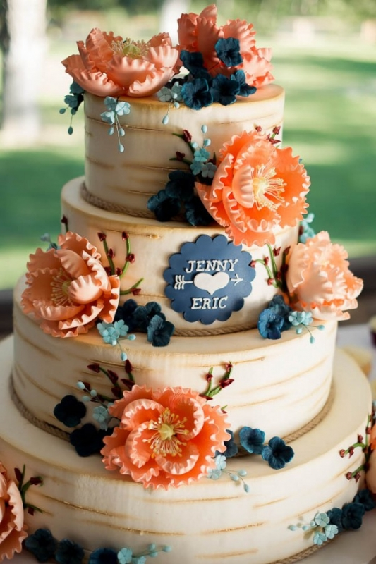 rustic wood bark printed cake coral and blue flowers