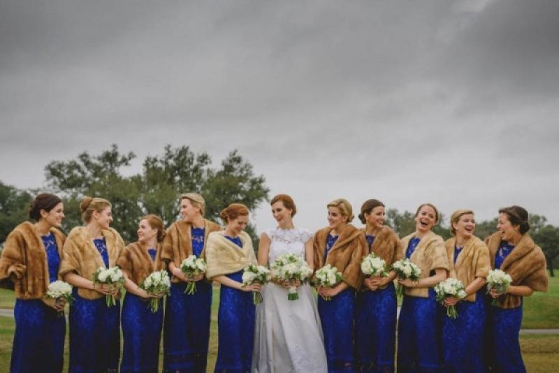 9dc9f0b0a8cc3 Bright Royal Blue Lace Bridesmaids Dresses Fur Stolls Winter Bridesmaids