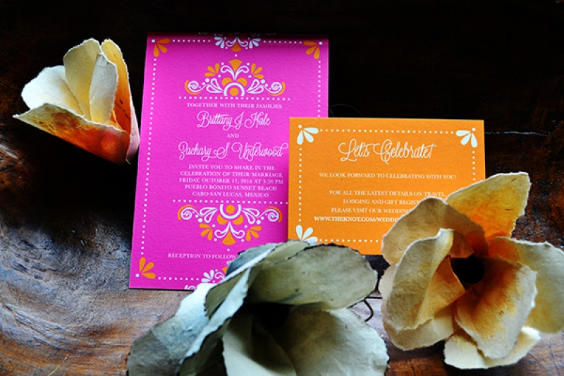 Orange and Pink Latin Inspired Wedding Invitation by Izzy Girl