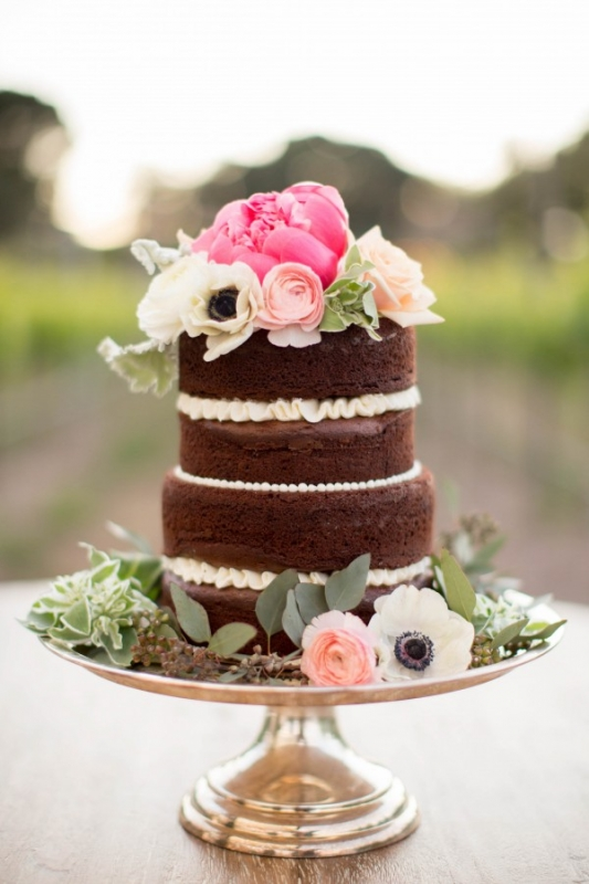 small chocolate naked cake silver stand pink flowers