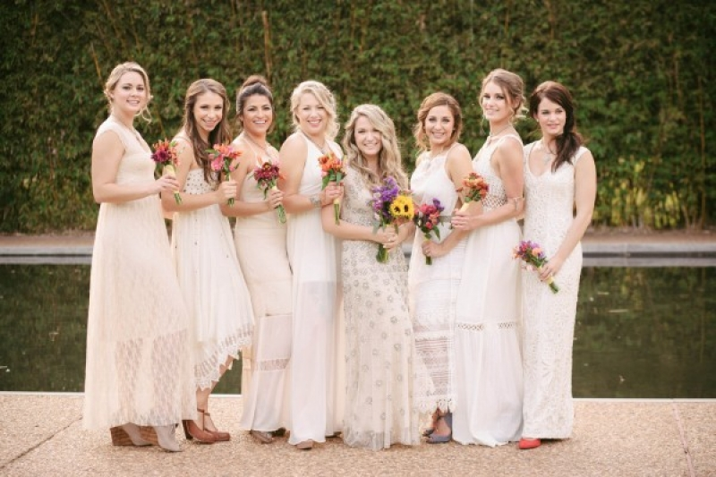 Various Ivory Cream Bridesmaids Dresses Bohemian Bridesmaid Style