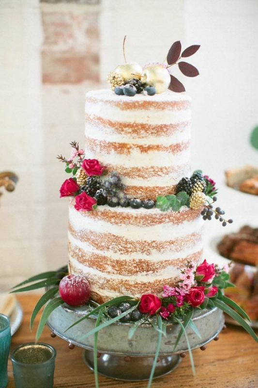 Naked Cake Powdered Sugar Red Roses Berries Gold Accents Wedding Inspiration Board Junebug Weddings