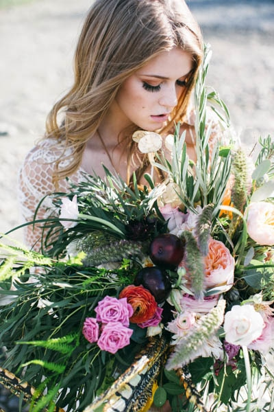 bohemian bridal makeup and floral inspiration