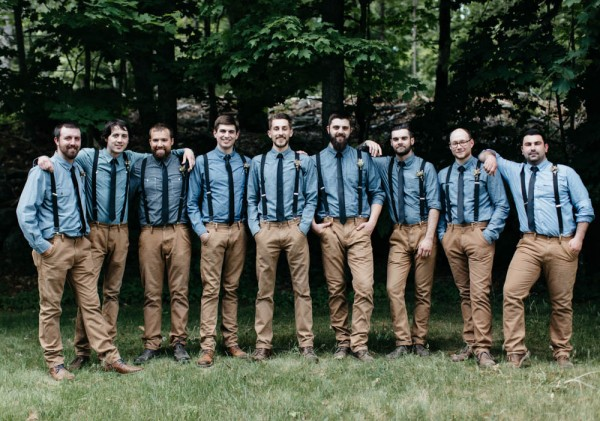 casual groomsmen style in chambray shirts, khakis, and suspenders