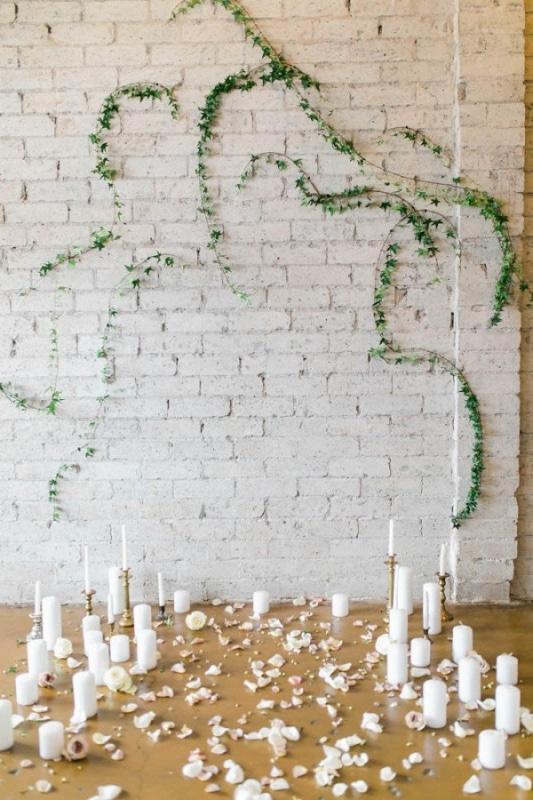 Ceremony Backdrop of Distressed Brick with Ivy Vines