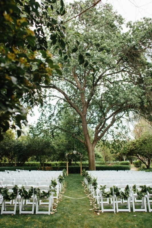 Lush Outdoor Ceremony with White Chairs and a Large Tree