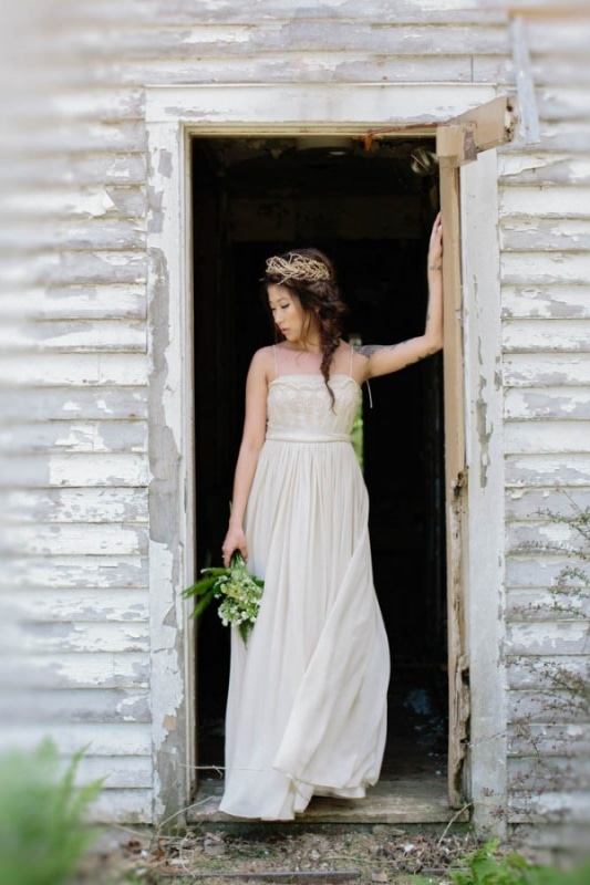 Free People gown on boho bride