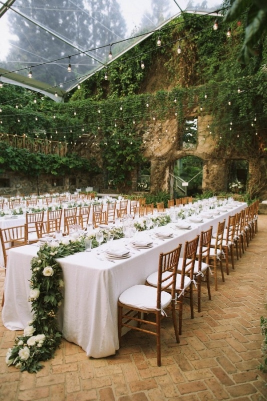 Organic and Elegant Reception with Lush Greenery and Cafe Lights