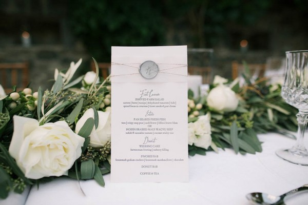 reception dinner menu