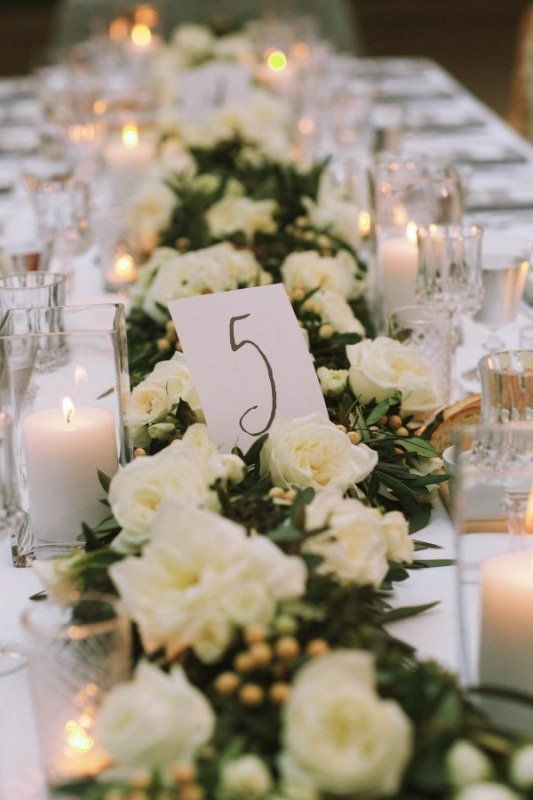 white floral table runners