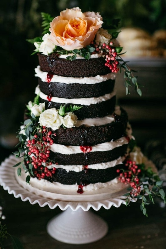 chocolate naked tiered cake