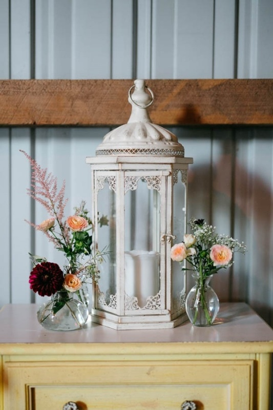 clear vase floral accents