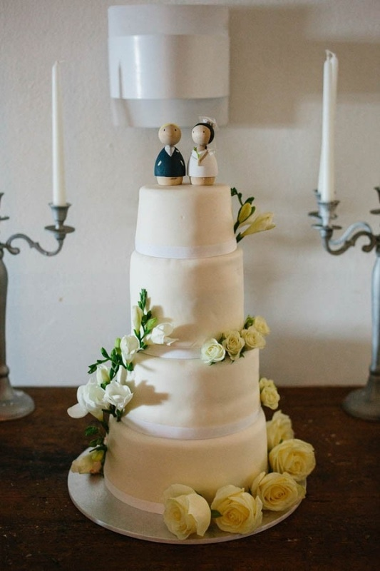 simply white tiered wedding cake
