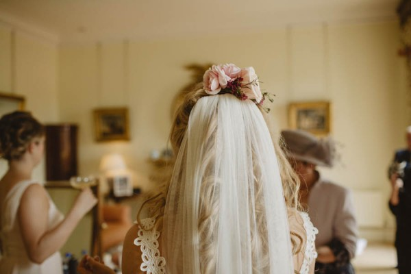 veil with floral adornments